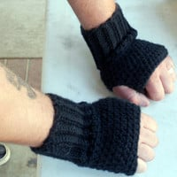Black mens fingerless gloves, wrist warmers, mittens for winter