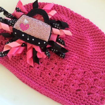 Hot Pink Beanie Hat for Toddler - Baby Beanie Hat - Pink Kufi Hat - Korker Hair Bow - Toddler Photo Prop - Baby Girl Gift - Baby Shower Gift