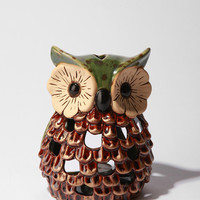 Ceramic Bright Eyed Owl Tea Candle Holder