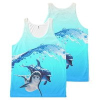 dolphins with wave All-Over-Print tank top