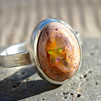 raw fire opal ring, opal ring silver, matrix opal ring, mexican fire opal ring, opal promise ring, drop opal ring ready to ship size 7.5US