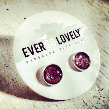 pink and gray sparkly silver metallic handmade nickel free post earrings - summer nights and starry skies