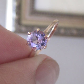 Vintage 1ct Old European Cut Amethyst 14k Gold Ring Tiffany Claw Setting Engagement Ring Alternative