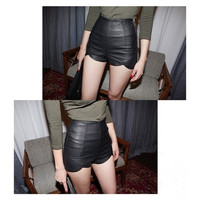 New Fashion Summer Women's Sexy Black PU High Waist Shorts Slim Slit Faux Leather Shorts