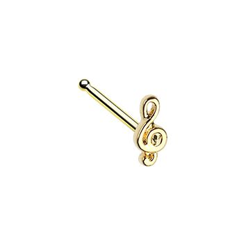 Golden Treble Clef Music Note WildKlass Nose Stud Ring