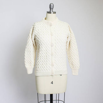 Vintage Wool Fisherman Cardigan - Knit Ivory Cropped Ladies Sweater 1950s - Small S