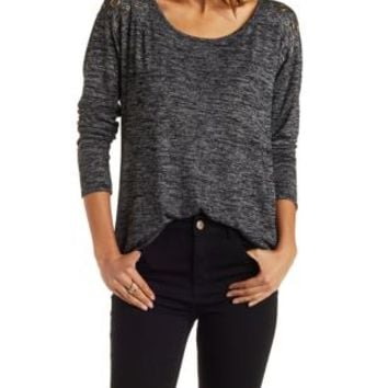 Black Marled Pullover with Decorative Grommets by Charlotte Russe