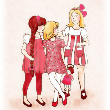 Childrens Art Print Sisters Friends Red Dresses by wonderlaneart