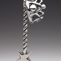 Silver Fairy Crown and Magic Wand Charm Pendant