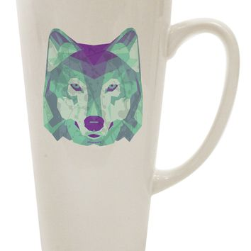 Geometric Wolf Head 16 Ounce Conical Latte Coffee Mug by TooLoud