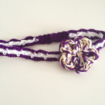 OOAK Handmade Crochet Purple Candy Flower Headband - Hand Crafted Purple/White/Yellow Floral Spring Accessory