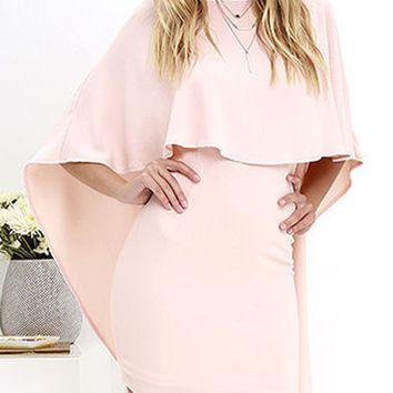 Light Pink Cape Overlay V Back Mini Dress