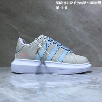 HCXX A520 Adidas Superstar Leather Casual Shoes Gray Blue
