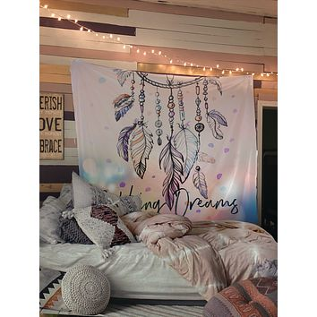 Pastel Dream Catcher Tapestry Wall Hanging Meditation Yoga Grunge Hippie