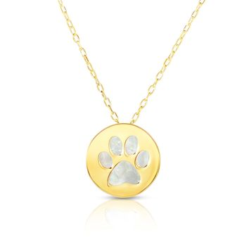 """14K Yellow Gold Mother Of Pearl Dog Paw Pendant Necklace, 16"""""""