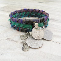 Silk Road Gypsy Bangle Stack - Green, Blue, Purple, 3 Bohemian Tribal Bracelets, Silk Wrapped