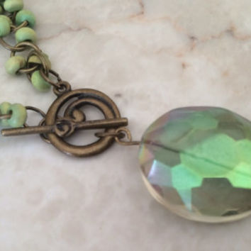 Green Beaded Necklace, Front Toggle Necklace, Green Iridescent Necklace, Copper Necklace