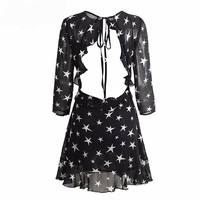 Black Hollow Out Chiffon Star Print Dress
