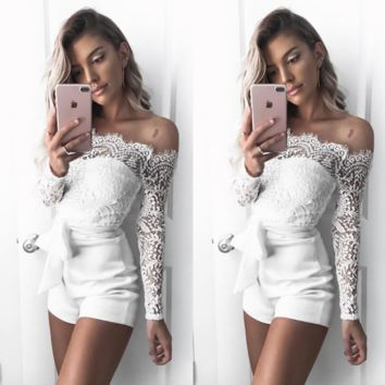 Women'S Long-Sleeved White Lace Jumpsuits