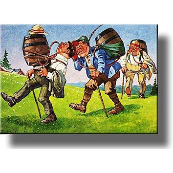 Keg and Men Hiking Picture on Acrylic , Wall Art Décor, Ready to Hang!