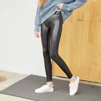 Autumn Winter New Style Bee Pink Elasticity Leather Pants Fashion Women's Clothing Nine Points Pants Leggings
