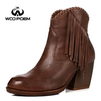 WooPoem Winter Shoes Woman Genuine Leather Boots High Heel Ankle Boots Fringe Classic Zip Retro Women Boots Winter Boots 186-5