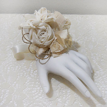 Set of 3, Faith, Hope, Love Rustic Shabby Chic Wrist Corsages, Cotton Rolled Roses, Sola Flowers, Lace. Ready to Ship!