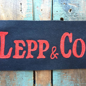 LARGE Vintage Chain Stitch Patch, Lepp & Co, Black And Red Jacket Patch