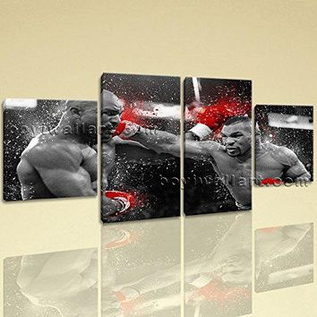 Large Mike Tyson Vs Holyfield Sport Canvas Art Tetraptych Pieces Print, Large Sport Wall Art, Dining Room, Nero