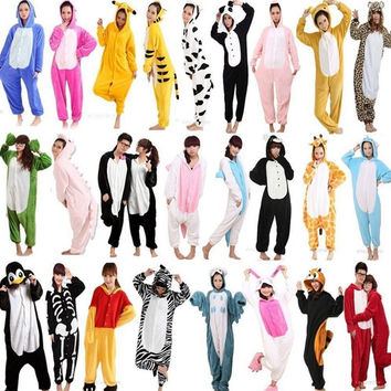 Unisex Adult Flannel Pajamas Cosplay Cartoon Animal Winter Onesuits Christmas Halloween Pajama Pyjama Sets Pikachu Panda Stitch