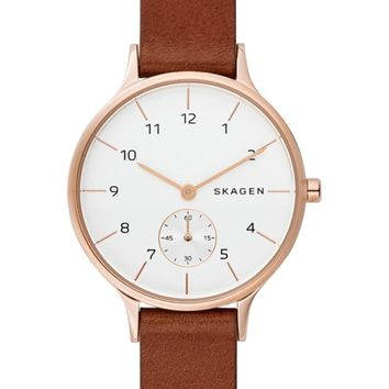 Skagen Anita Leather Strap Watch, 34mm | Nordstrom