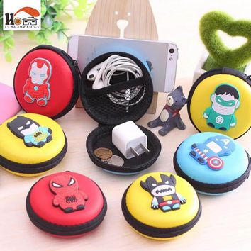 CUSHAWFAMILY cartoon circular EVA Earphone Wire Organizer Box Data Line Cables Storage Box Case Container Organizer Coin Boxs