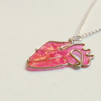 Pink  Anatomical Paper Heart Necklace by nnvillan on Etsy