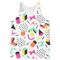 Flat Geometric Squiggly Memphis bold pattern 1980s All-Over Print Tank Top