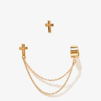 Cross Studs w/ Chained Ear Cuff