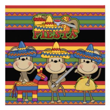 Monkeys Fiesta Customized  Birthday Invitations