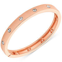 GUESS Rose Gold-Tone Hinge Bracelet with Clear Stones | macys.com