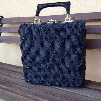 Wicker Rattan Hand Bag Purse, Black Beaded Front, Hong Kong, Mid Century Rattan Handbag, Beaded Woven Basket Bag  Boxy Shape with Beads, MCM