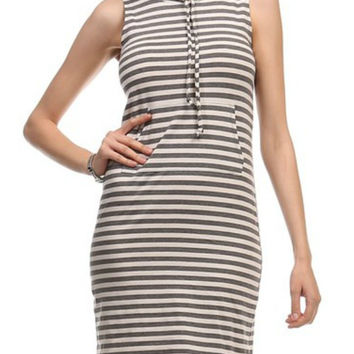 Black and White Stripe Hoodie Dress