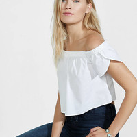 Stretch Cotton Off The Shoulder Cropped Blouse from EXPRESS