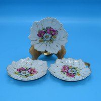 Japan Floral Snack Plates set of 3 Vintage Leaf Shaped Bon Bon Plates Trio of Floral Snack Dishes Pink Small Plates Gift for Her Mothers Day