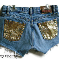 Glitter Pocket Shorts High Waisted Custom Order Any Size Made to Order Tumblr Hipster