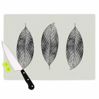 "Julia Grifol ""Three Leaves"" Black Grey Nature Cutting Board"