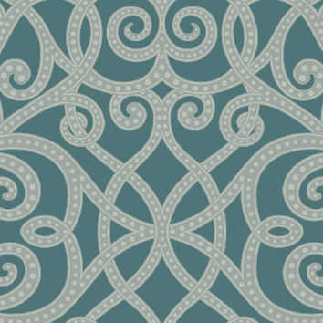 Sample Ironwork Beads Wallpaper in Metallic and Blues design by Seabrook Wallcoverings
