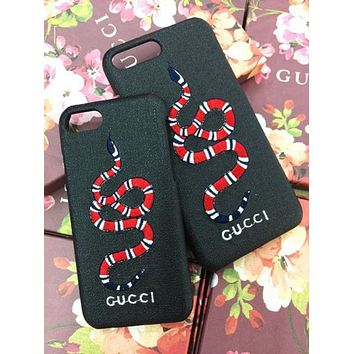 GUCCI Fashion Print Embroidery iPhone Phone Cover Case For iphone 6 6s 6plus 6s-plus 7