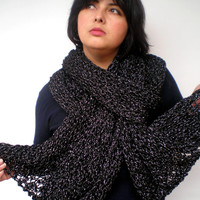 Silver and Black Lace Wrap Hand Knitted Stole Woman Trendy Shoulder Wrap Chunky Tape  Cotton Big Scarf NEW