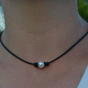 Pearl on Leather Choker, Short Pearl Necklace, Leather and Pearls, Leather Choker, White Pearl Necklace, Jewelry By Yevga