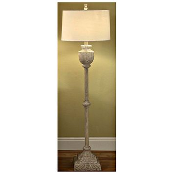 Avalon Carved Wood Floor Lamp