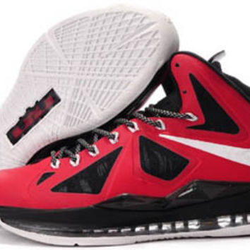 lebron james x 10 red white and black mens basketball shoes for sale