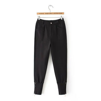 Zipper Ankle-Length Button Fly High Pocket Elastic Waist Pants